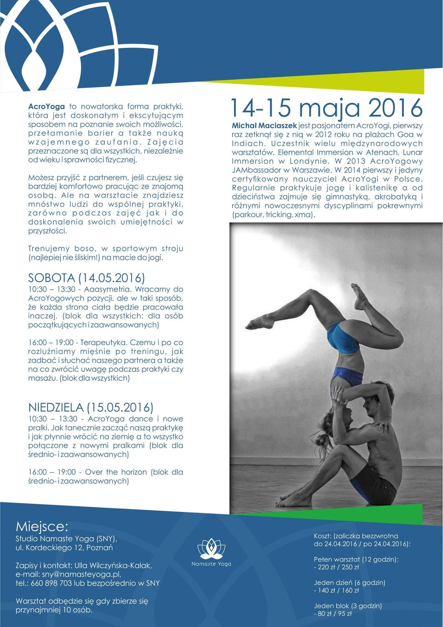 AcroYoga Poznań Warsztaty 14-15.05.2016